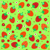 Seamless textures with ornament of strawberries and flowers — Stock Vector