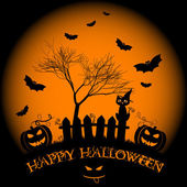 Holiday illustration on theme of Halloween. Wishes for Happy Halloween. Trick or treat — Vetorial Stock