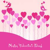 Festive card with pink heart air balls on Valentine's day. February 14 - day for all lovers — Stock Vector