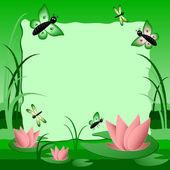 Çocuk illüstrasyon etiketli metin için. Lotus ile bataklık. Yeşil renk — Stok Vektör