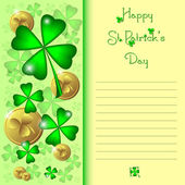 Holiday card on St. Patrick's Day. March 17 - day of good luck, fortunate shamrocks and leprechauns — Stockvector