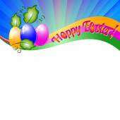 Background for Easter with colored eggs and green leaves. Christ Is Risen — Stock Vector