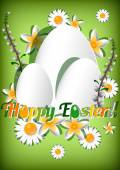 Greeting card for Easter with ornament from eggs and spring flowers on green background. Christ Is Risen — Vecteur
