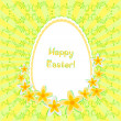 Greeting card for Easter with painted egg and daffodils on background with floral ornament. No gradient fills — Stock Vector #67004943