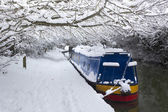 Deep snow lines a canal near Oxford — Stock Photo