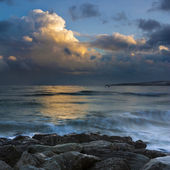 Sunset under storm clouds on the Dorset Coast — Stock Photo