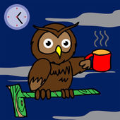 Owl drinking coffee and can't sleep vector — Stock Vector