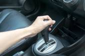 Hand on automatic gear shift — Foto de Stock