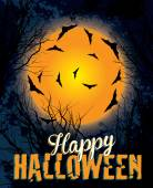 Halloween gece arka plan illüstrasyon metin — Stok Vektör