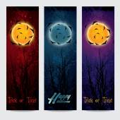 Halloween vertical banners set with moon — Stock Vector