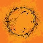 Vector Halloween wreath orange background — Stock Vector #53099511