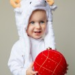 Baby in sheep hat New Year 2015 — Stock Photo #57222777