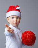 Baby in Santa hat New Year — Stock Photo