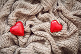 Wool, red hearts, pearl, Valentine — Fotografia Stock