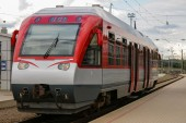 Red train at the station — Stock Photo