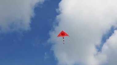 Kite flying in the blue sky with clouds. — Stock Video