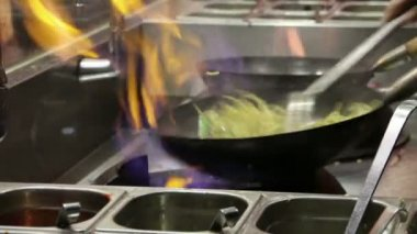 Frying potatoes in a fast food restaurant. Closeup — Stock Video