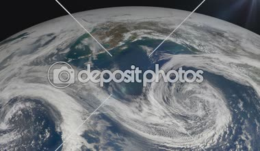 The hurricane over the earth., satellite view. — Stock Video