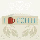 I love coffee greeting card banner. — Stockvektor