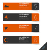 Abstract modern dark infographics options banner steps set with icons — Stock vektor