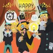 Carte de Get génial idée jour heureuse. — Vecteur