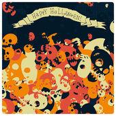 Halloween strany lebky pozadí — Stock vektor