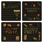 Halloween party postcard invitation set — Stock Vector