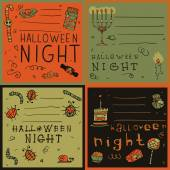 Halloween night postcard invitation set — Stock Vector
