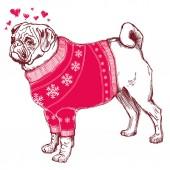 Perro en el amor — Vector de stock