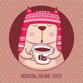 Cat and coffee — Stockvektor