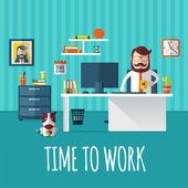 仕事をする時間 — ストックベクタ