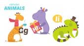 Jiraffe, Hippo, Iguana — Stock Vector