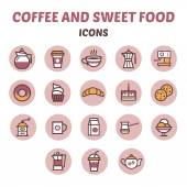 Coffee and sweet food icons — Stock Vector