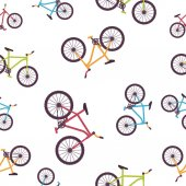 Pattern with colorful bikes — Stock Vector