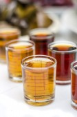 Sauces in glass measuring cup — Stock Photo