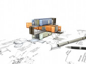 3Ds building transform from hand sketch — Stock Photo