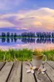 Coffee cup on old wood table  — Stock Photo