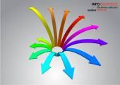 3D curved arrow — Stock Vector