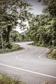 Vintage toned image of snake curved road — Stock Photo