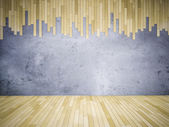 3ds wooden floor and concrete wall — Stock Photo