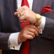 Businessman with red tie and golden accessories — Stock Photo #78598536