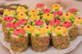 Colorful cakes in plate — Stockfoto