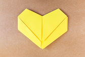 Paper yellow heart, Love card, Love postcard — Stock Photo