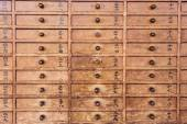 Wooden drawers with Japanese — Stockfoto