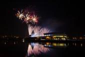 Firework over Stadium in nighttime — Stock Photo