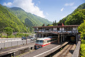 Tateyama - May 10: Tateyama station in Toyama city is interchange tram or tramcar to the japan alps May 10, 2015 in Tateyama, Japan — Stock Photo