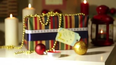 Cadeaux de noël avec des lumières — Vidéo