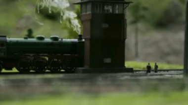 Model of a steam locomotive with smoke — Stock Video