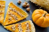 Pumpkin pie with hazelnuts healthy snack — Stock Photo