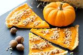 Pumpkin pie with hazelnuts — Stock Photo